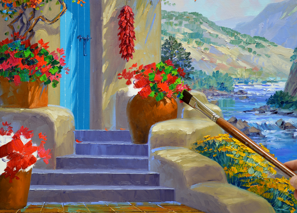 Painting The Flowers Dirtying And Dulling Bright Color Geraniums