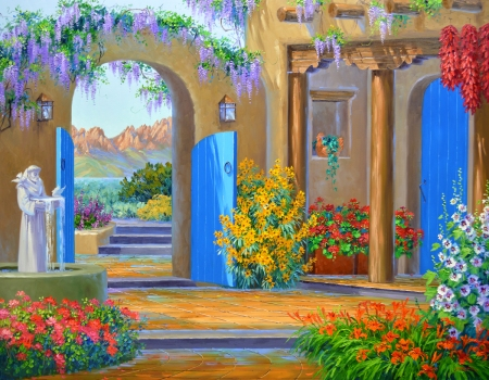SB1413 In the Cool of the Courtyard 48x60