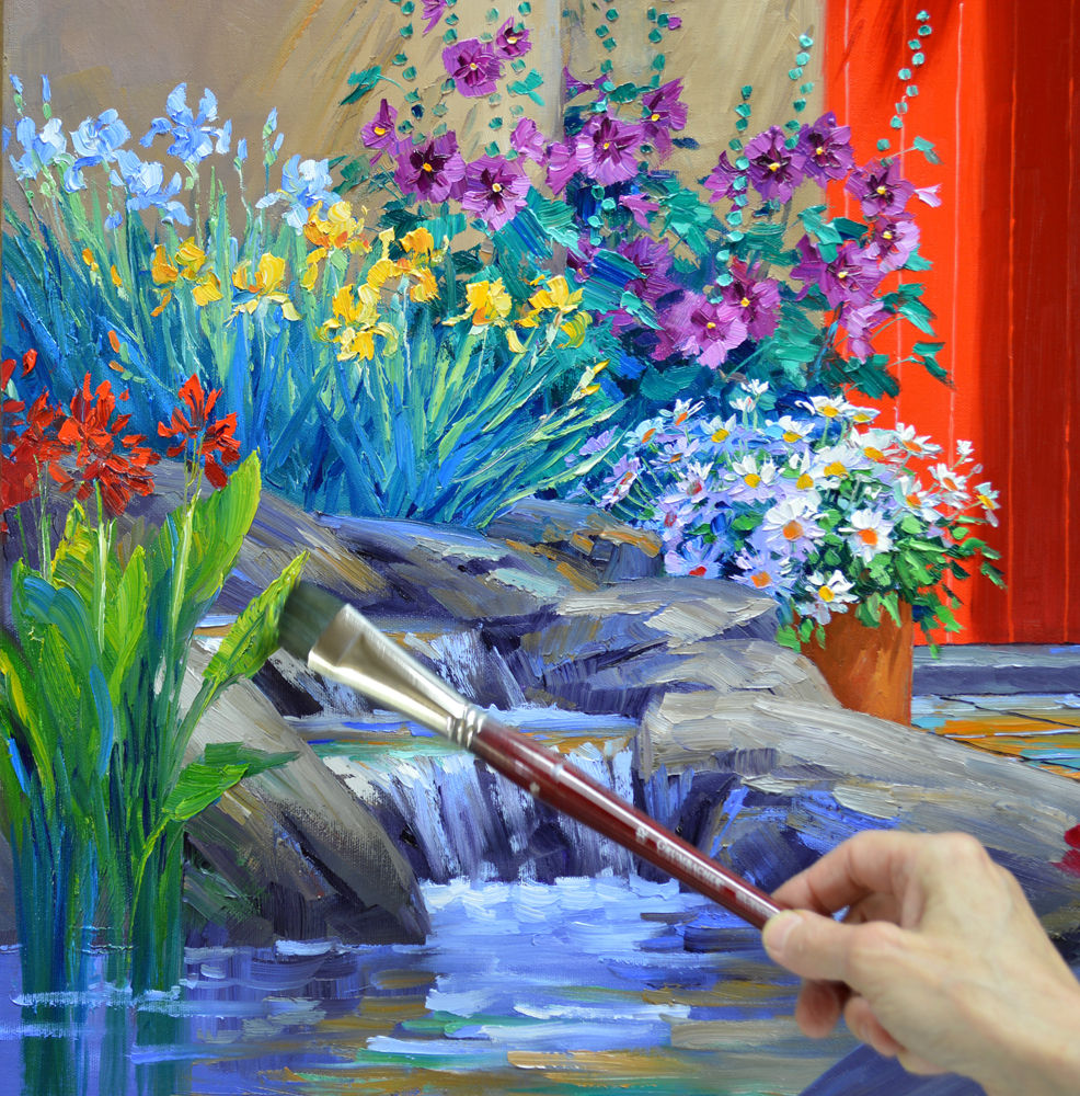 1000 images about paintings by mikki senkarik on pinterest for Painting flowers in acrylic step by step
