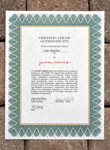 JW Sam Houston Certificate