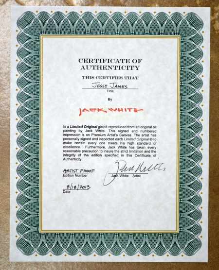 JW Jesse James Cutting Horse certificate