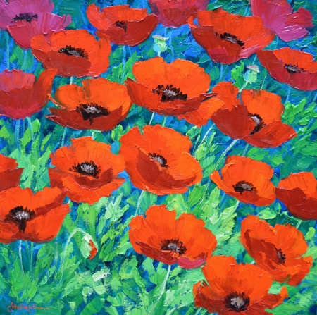 SI8613 Red Hot Poppies 14x14