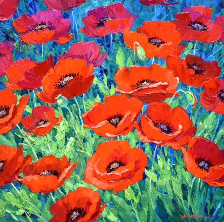 SJ10213 A Bunch of Poppies 14x14