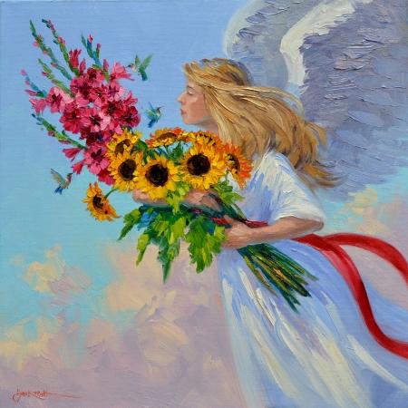 SA0114 Hummingbird Angel 14x14
