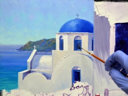 Romance in santorini mikki senkarik for Santorini blue paint