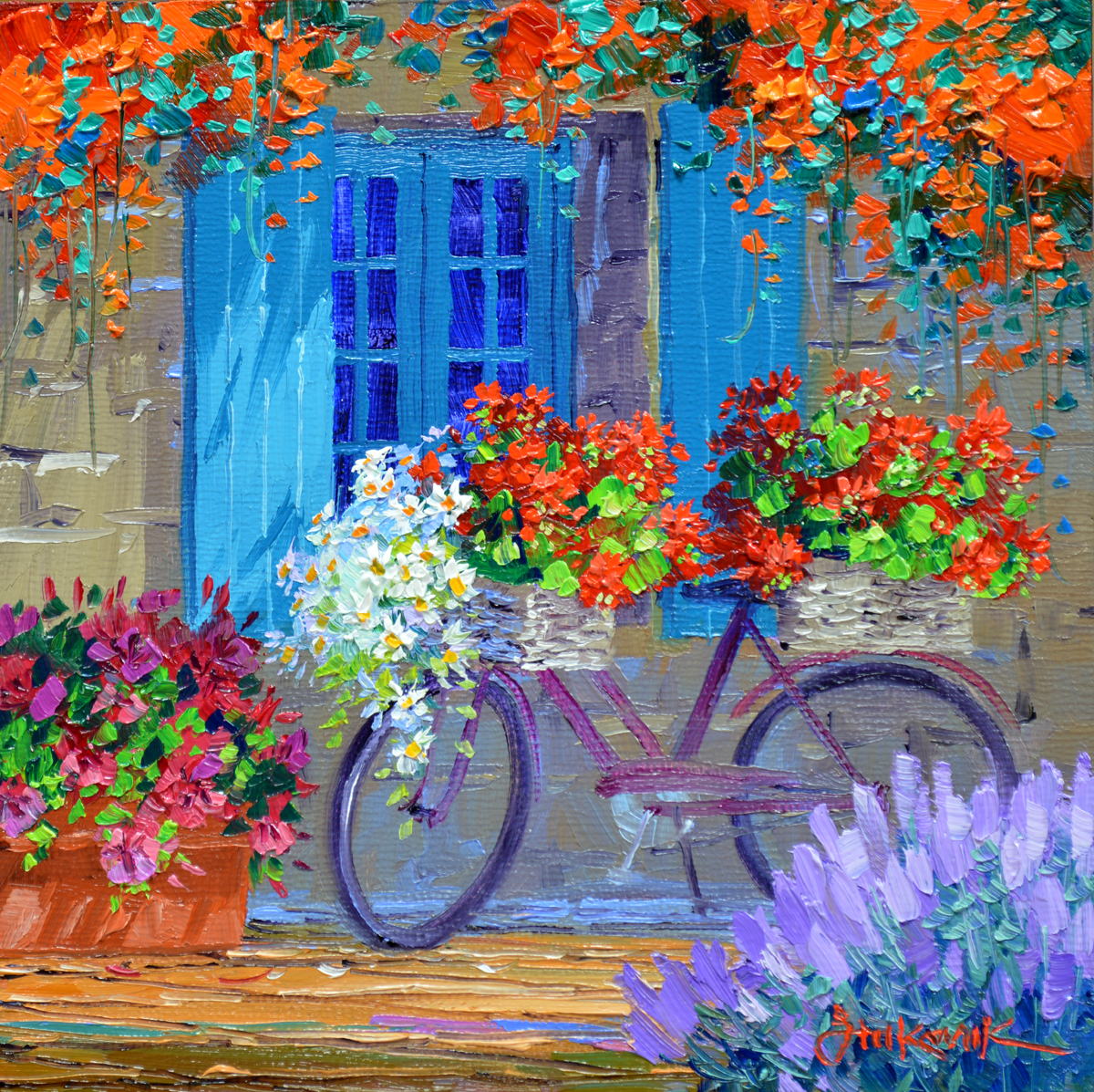Provence flowershop mikki senkarik for Bicycle painting near me