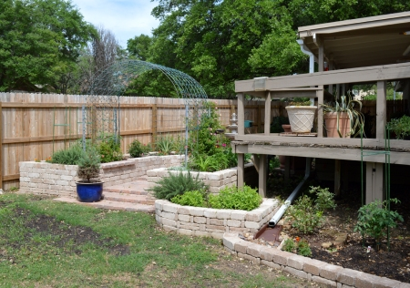 2015-4-10 Fountain Courtyard steps and tomatoe bed