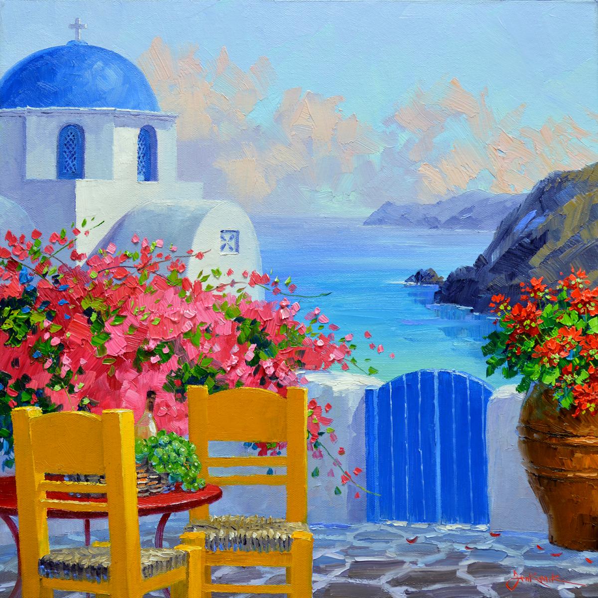 Let s go to santorini mikki senkarik for Santorini blue paint