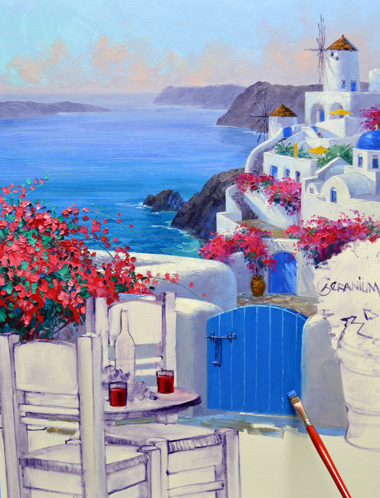 Paintings of santorini mikki senkarik for Santorini blue paint