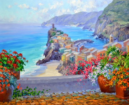 SE1416 Warm Remembrances of Cinque Terre 34x42